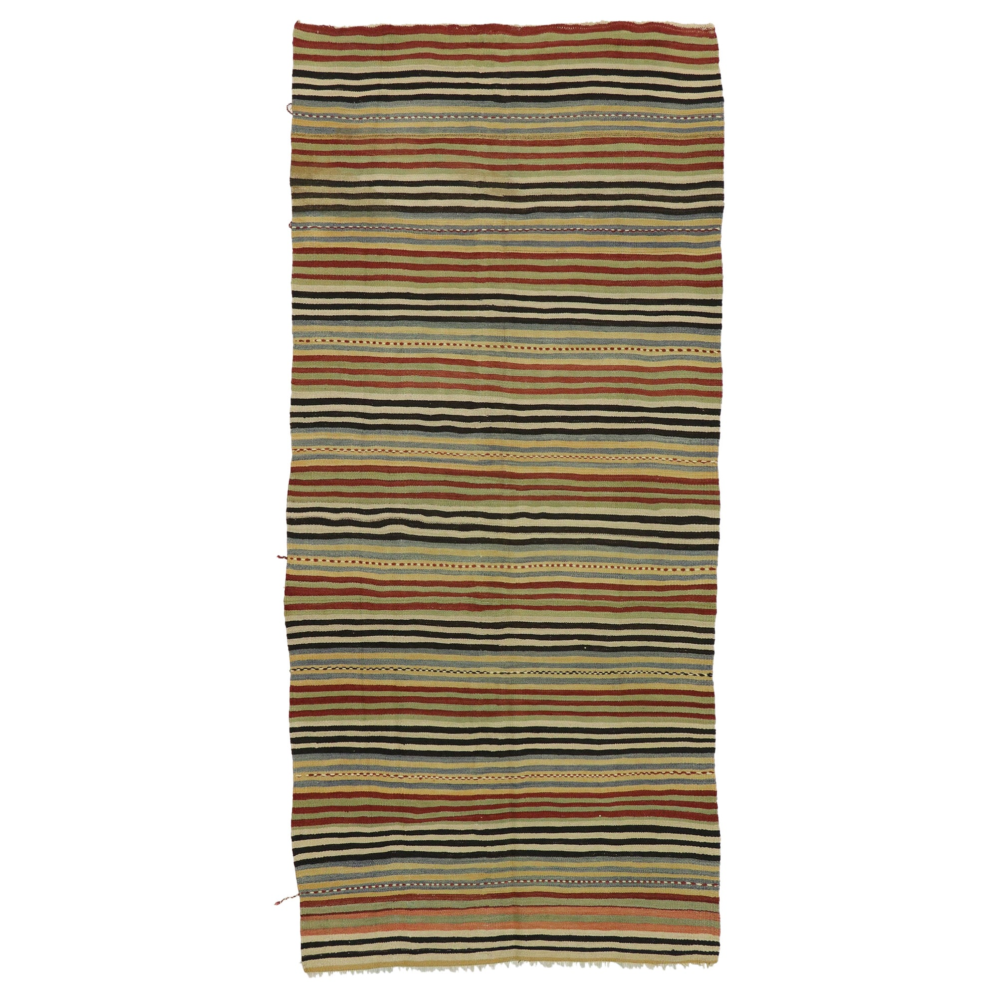 Vintage Turkish Striped Kilim Runner with Rustic Modern Style