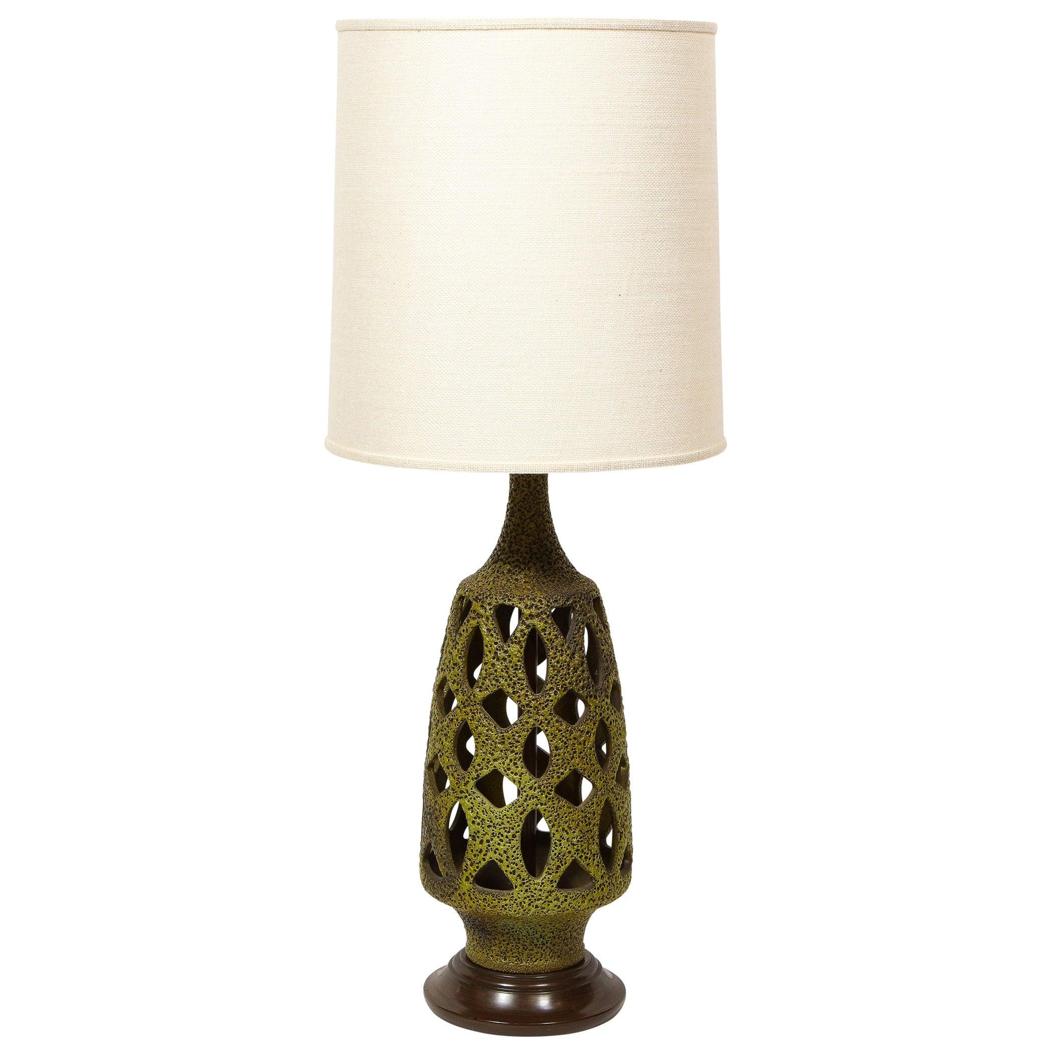 Midcentury Organic Modern Sculptural Latticework Table Lamp