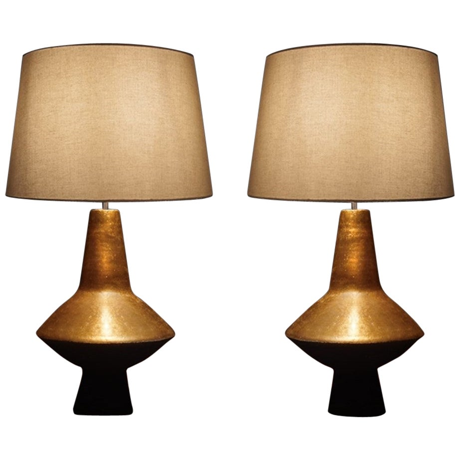 Pair of Table Lamps by Sotis Filippides Ceramic and 24-Carat Gold, 21st Century