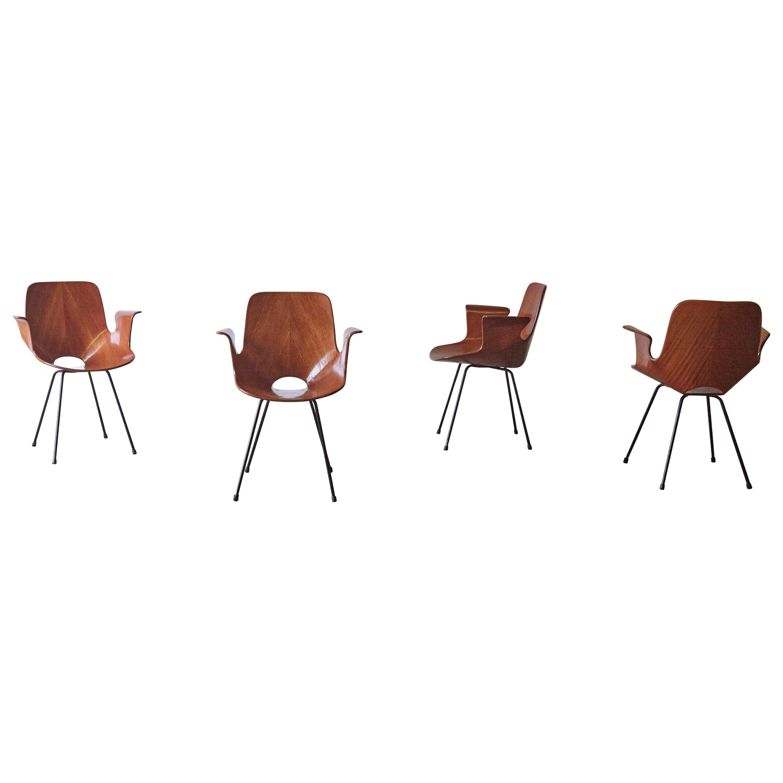 Set of Four Vittorio Nobili for Fratelli Tagliabue Medea Chairs, Italy, 1950s