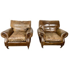 Pair of Vintage English Leather Club Chairs