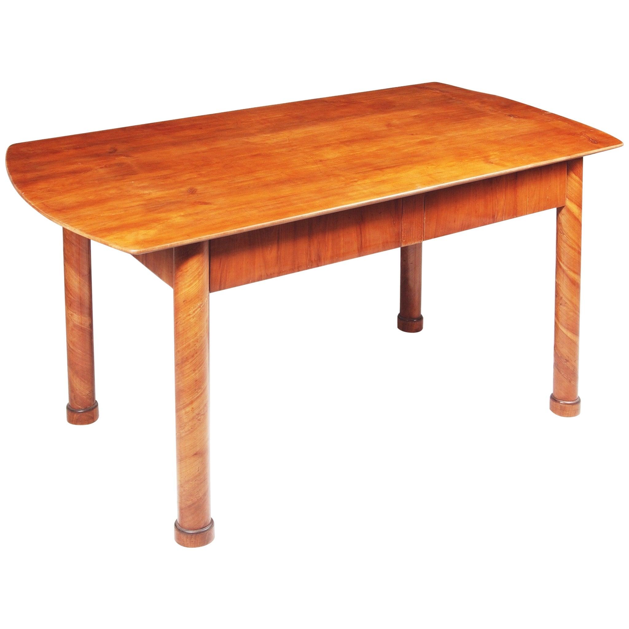 19th Century Restored German Biedermeier Cherry-Tree Writing Desk, Table, 1830s