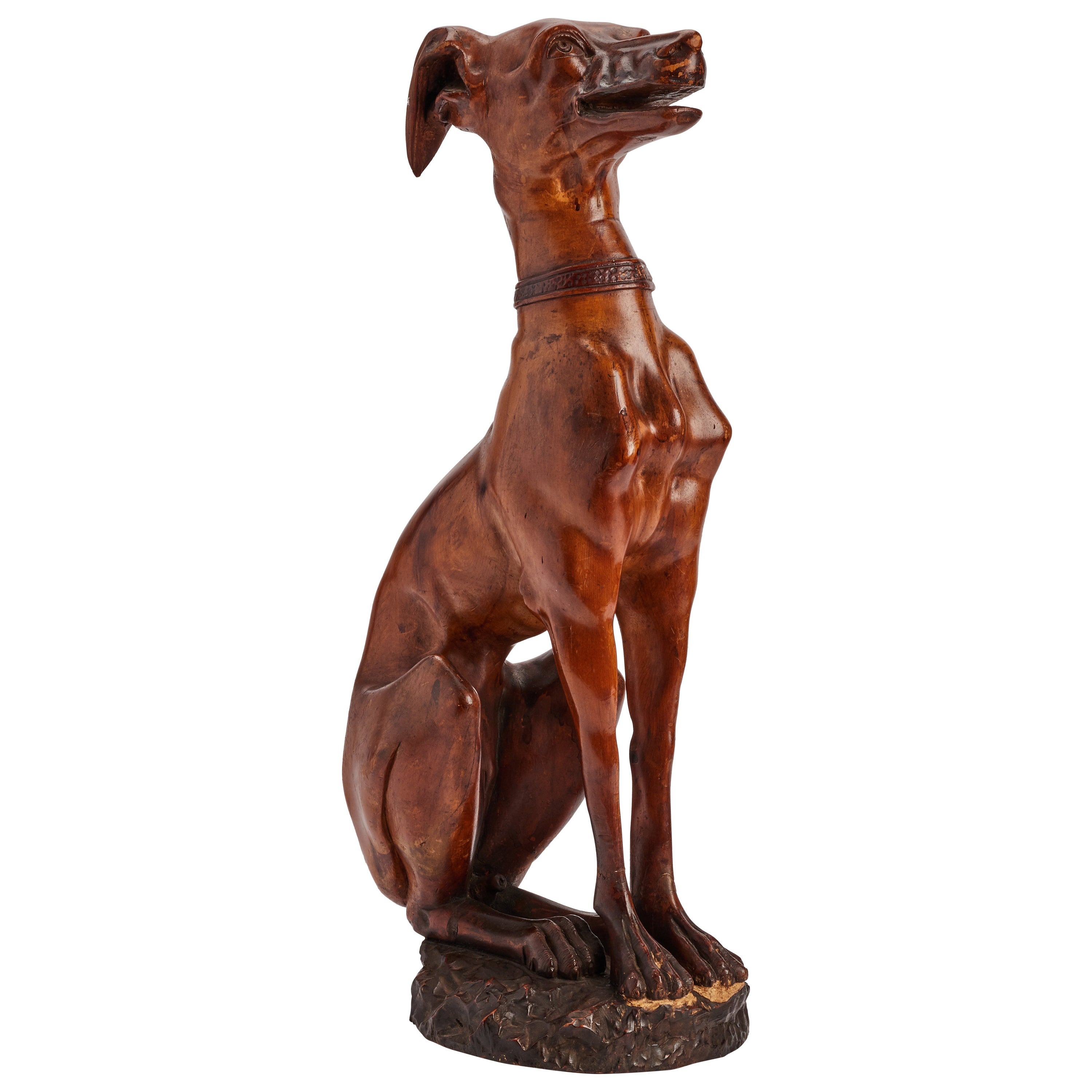 Wooden Sculpture Whippet Dog, Italy, 1830