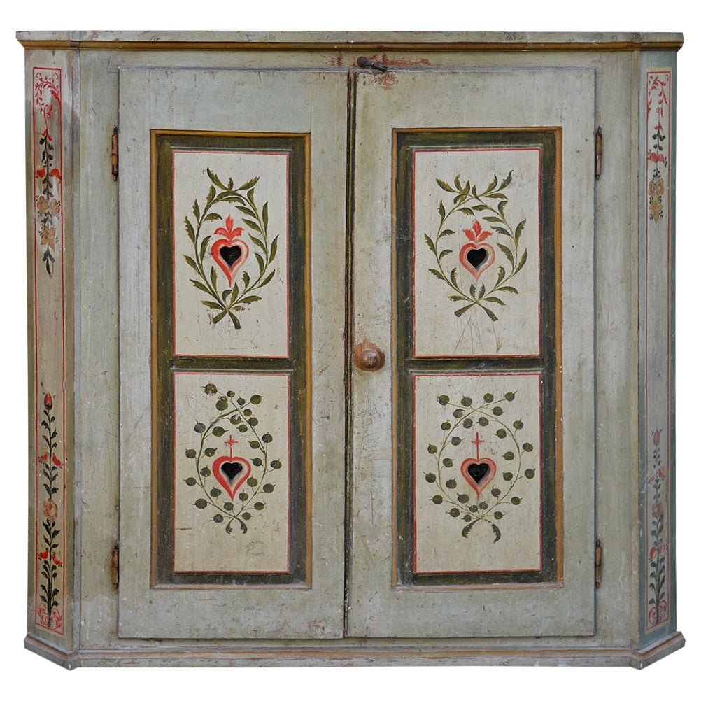 Early 19th Century Aquamarine Green Painted Cabinet