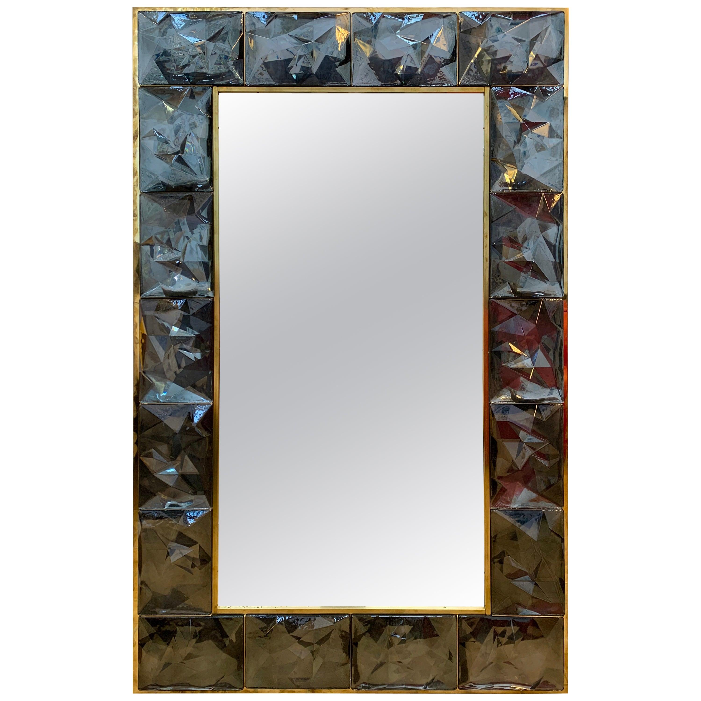 Contemporary Brass Mirror Gray Murano Glass, Italy