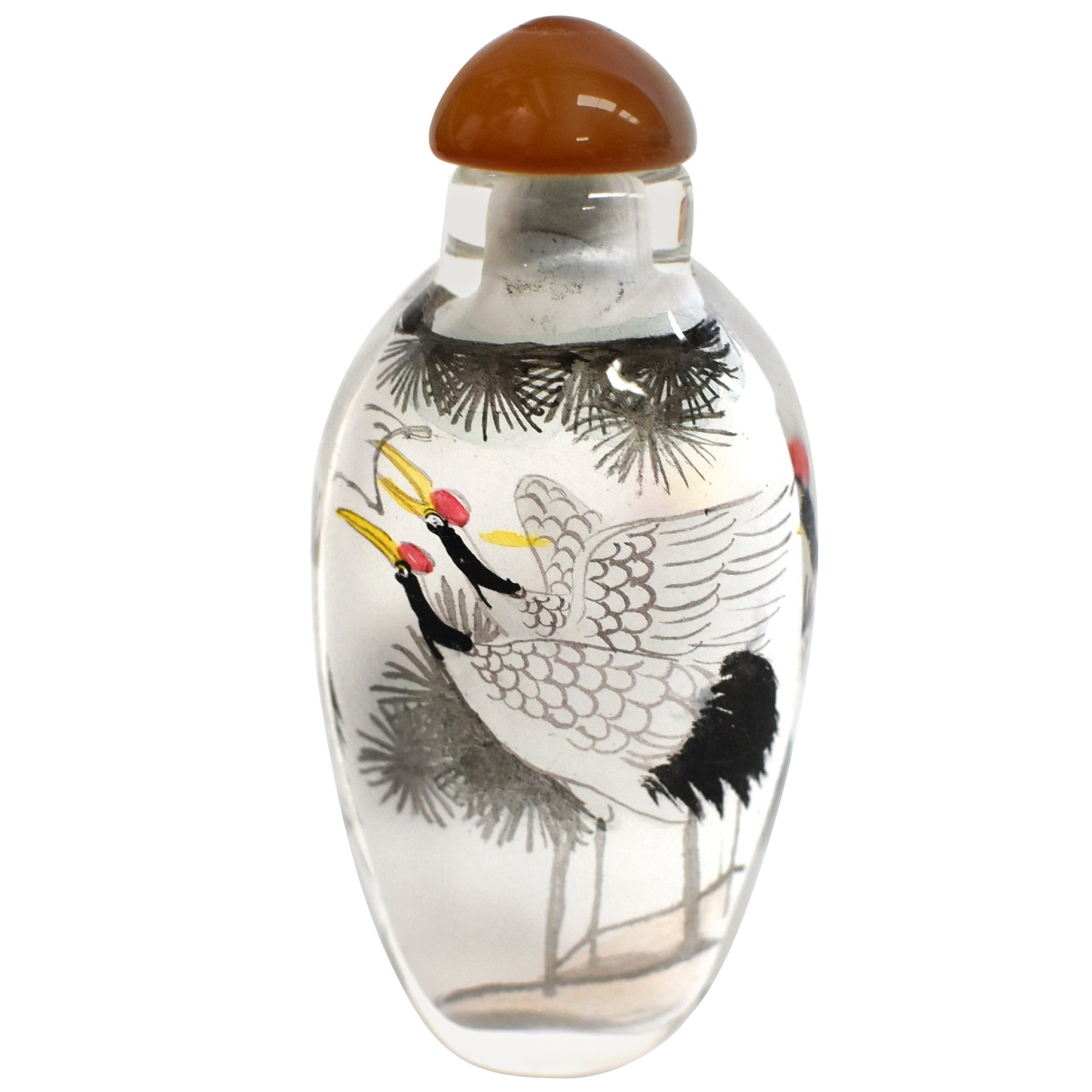 Reverse Painted Snuff Bottle with Crane