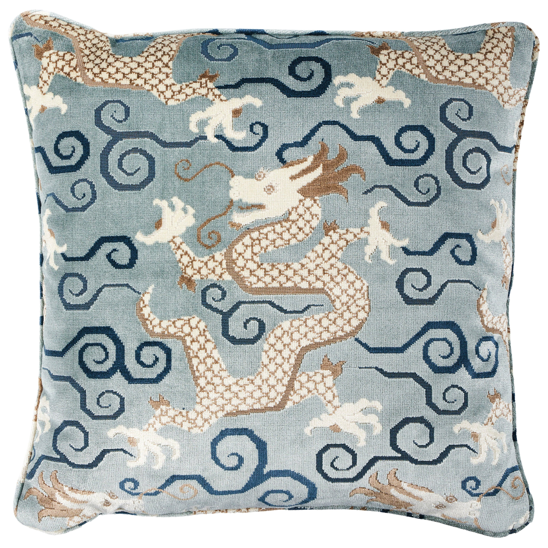 Schumacher Bixi Velvet Pillow in Celestine