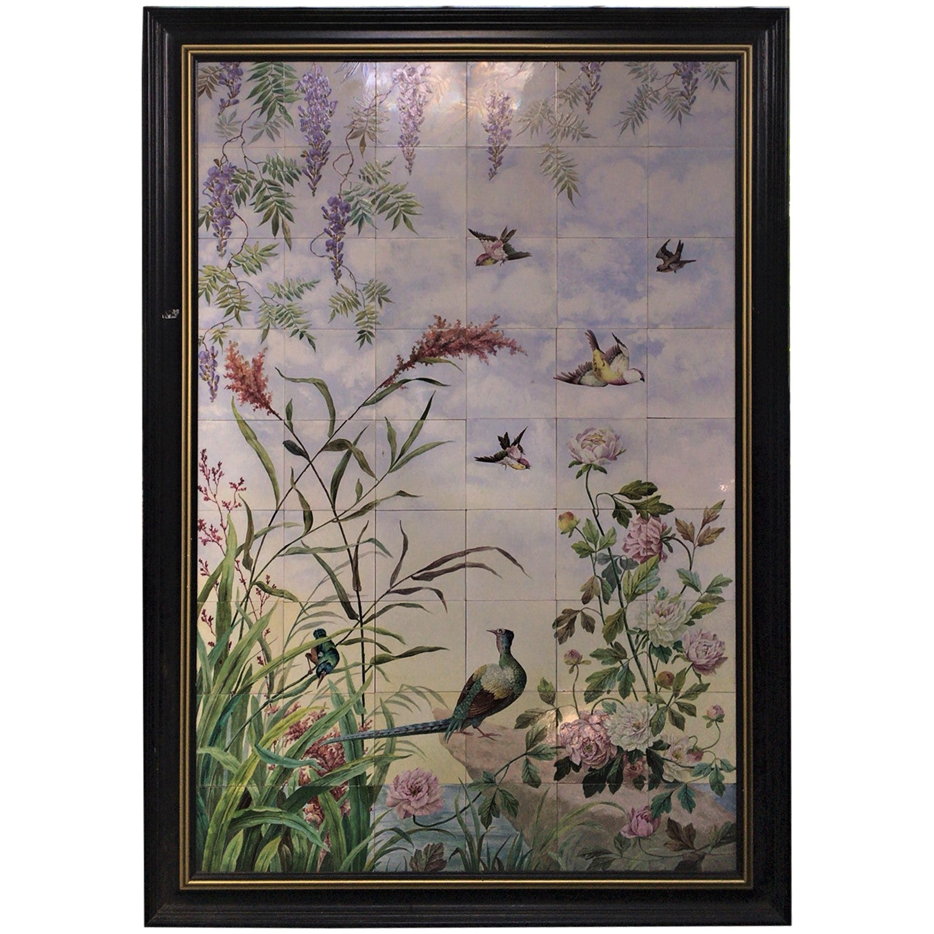 Large French 19th Century Large Tiles Panel with Birds, Pheasant and Flowers