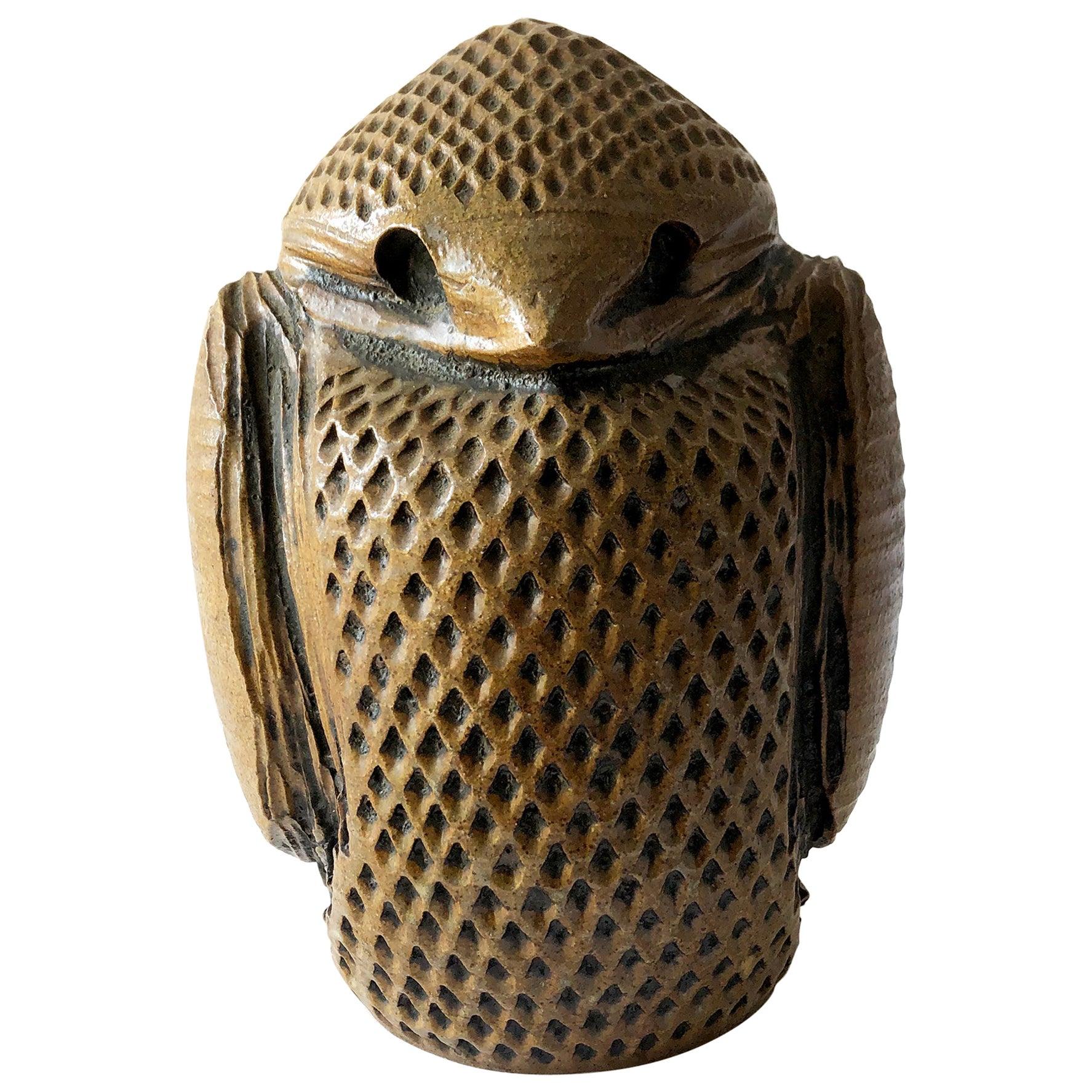 1970s Studio Pottery Stout Stoneware Owl Sculpture by Louis Mclean
