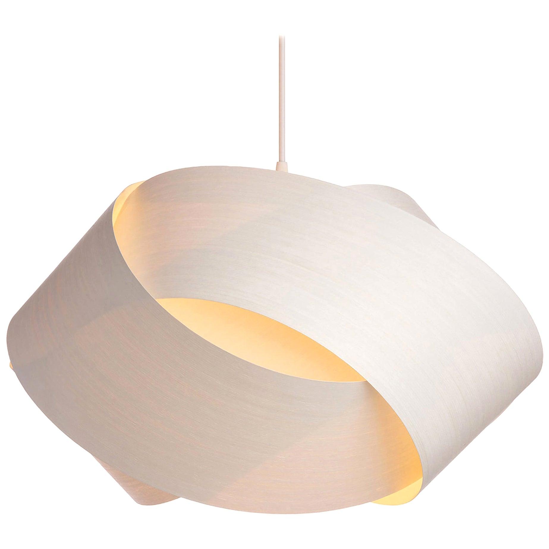 Scandinavian Modern white wood chandelier pendant