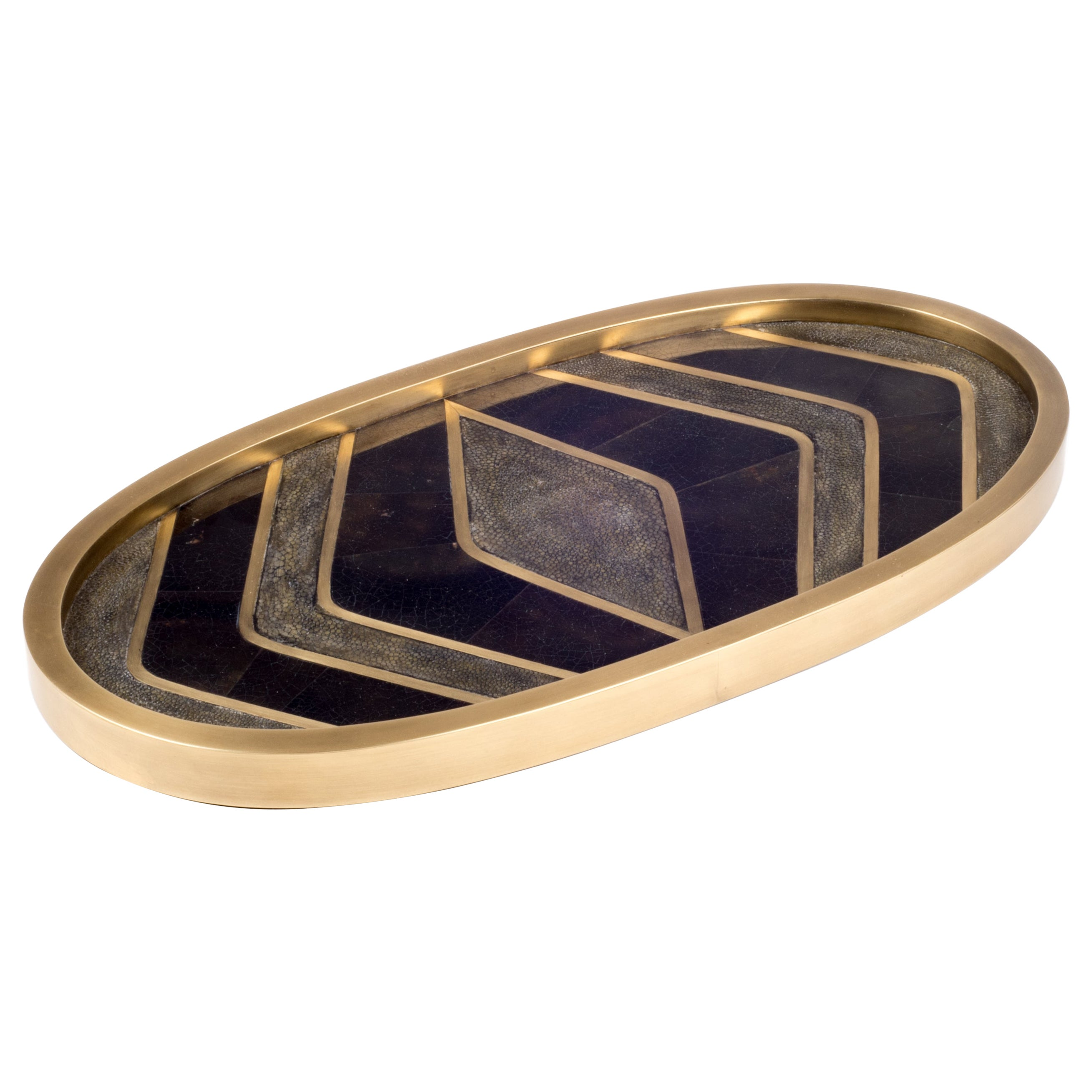 Shagreen Tray with Mix Inlay Pattern including Shell and Brass by Kifu, Paris