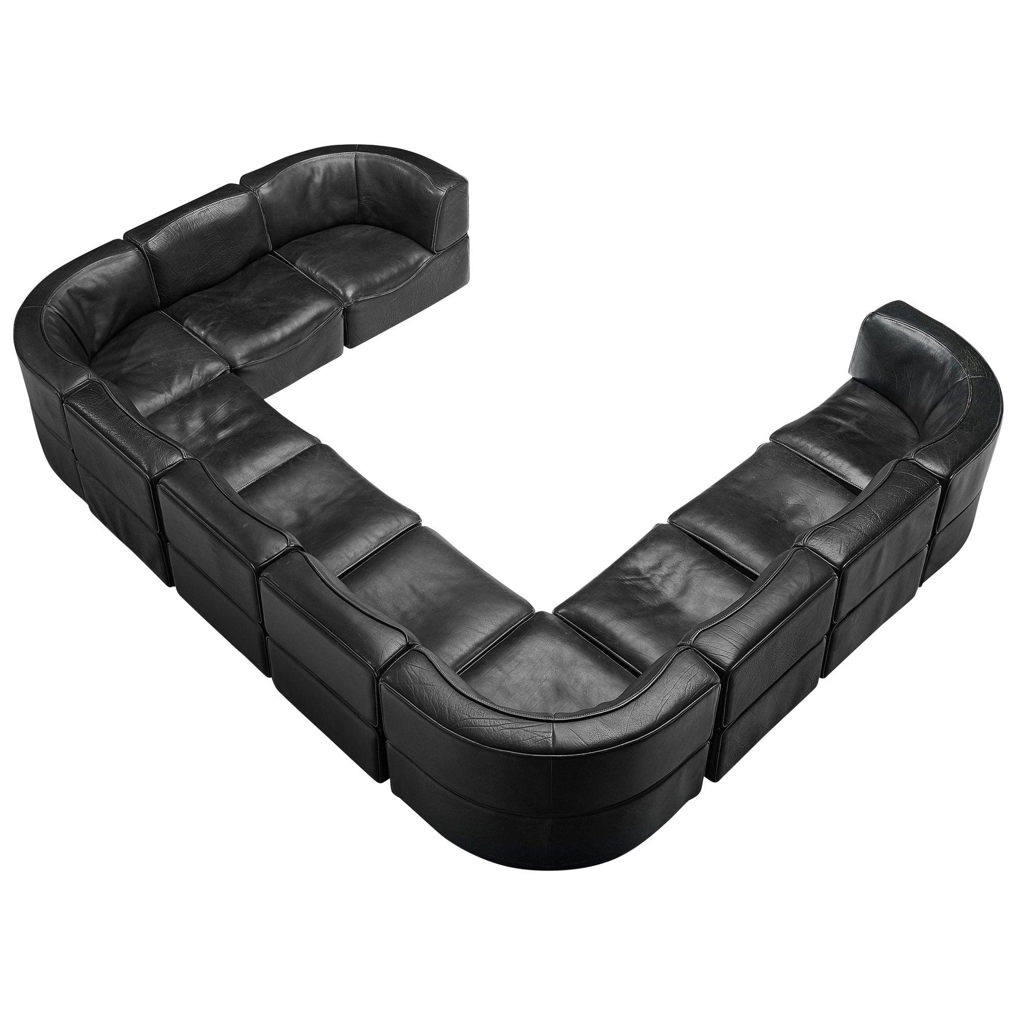 De Sede 'DS-15' Modular Sofa in Black Leather