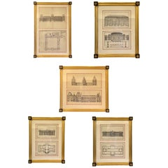 Five-Framed French Architectural Engravings