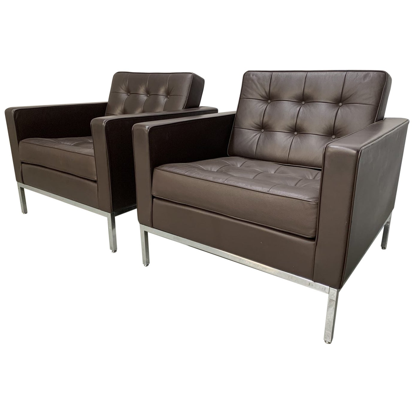 "Pair of Knoll Studio ""Florence Knoll"" Lounge Chairs in ""Sabrina"" Brown Leather"