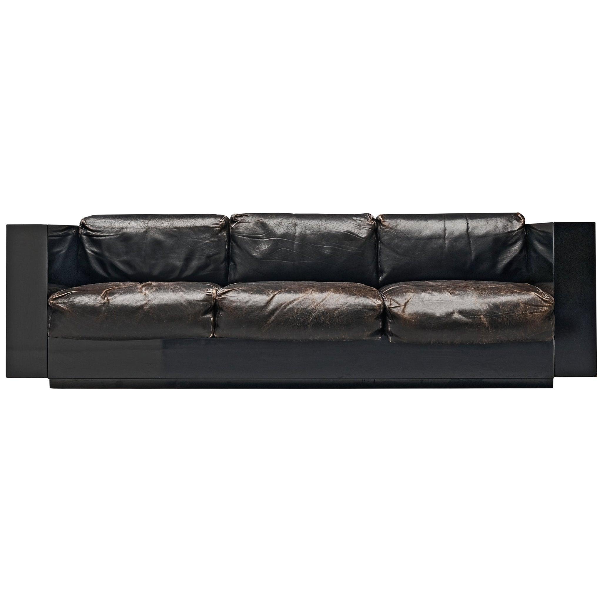 Vignelli Saratoga Large Black Sofa with Black Leather