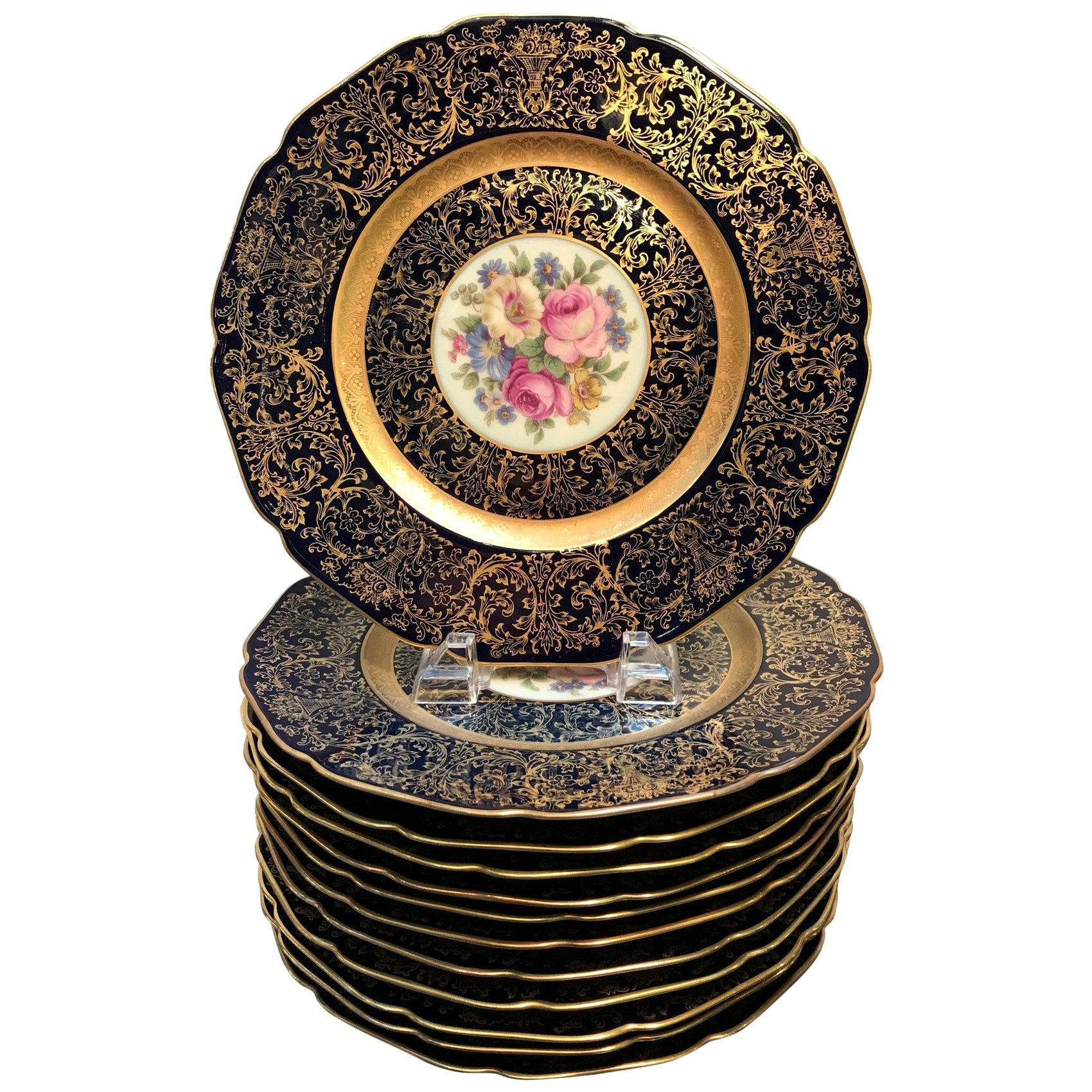 Set of 12 Elaborate Cobalt and Gilt Floral Service Plates