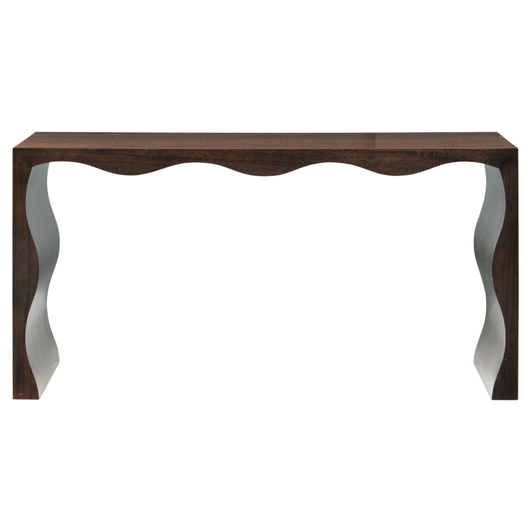 Contemporary Wood and Silvered Console Table