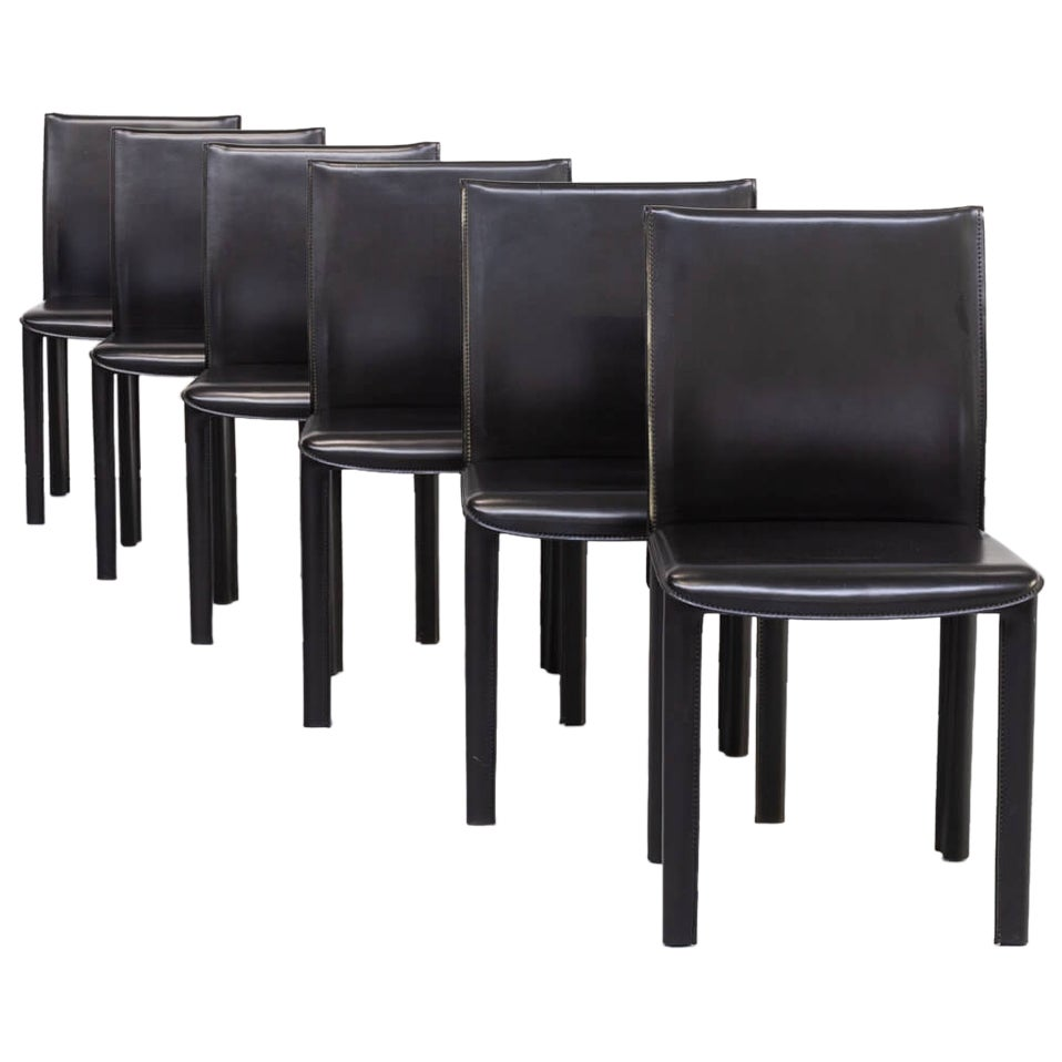 1980s Italian Design Leather Dining Chairs for Arper Set/6