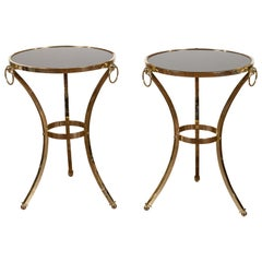 Pair of Midcentury Italian Brass Tables with Black Mirrored Tops and Ring Motifs
