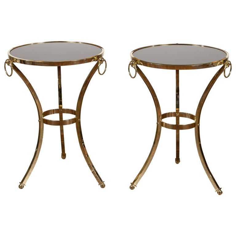 Pair of Midcentury Italian Brass Tables with Black Mirrored Tops and Ring Motifs For Sale