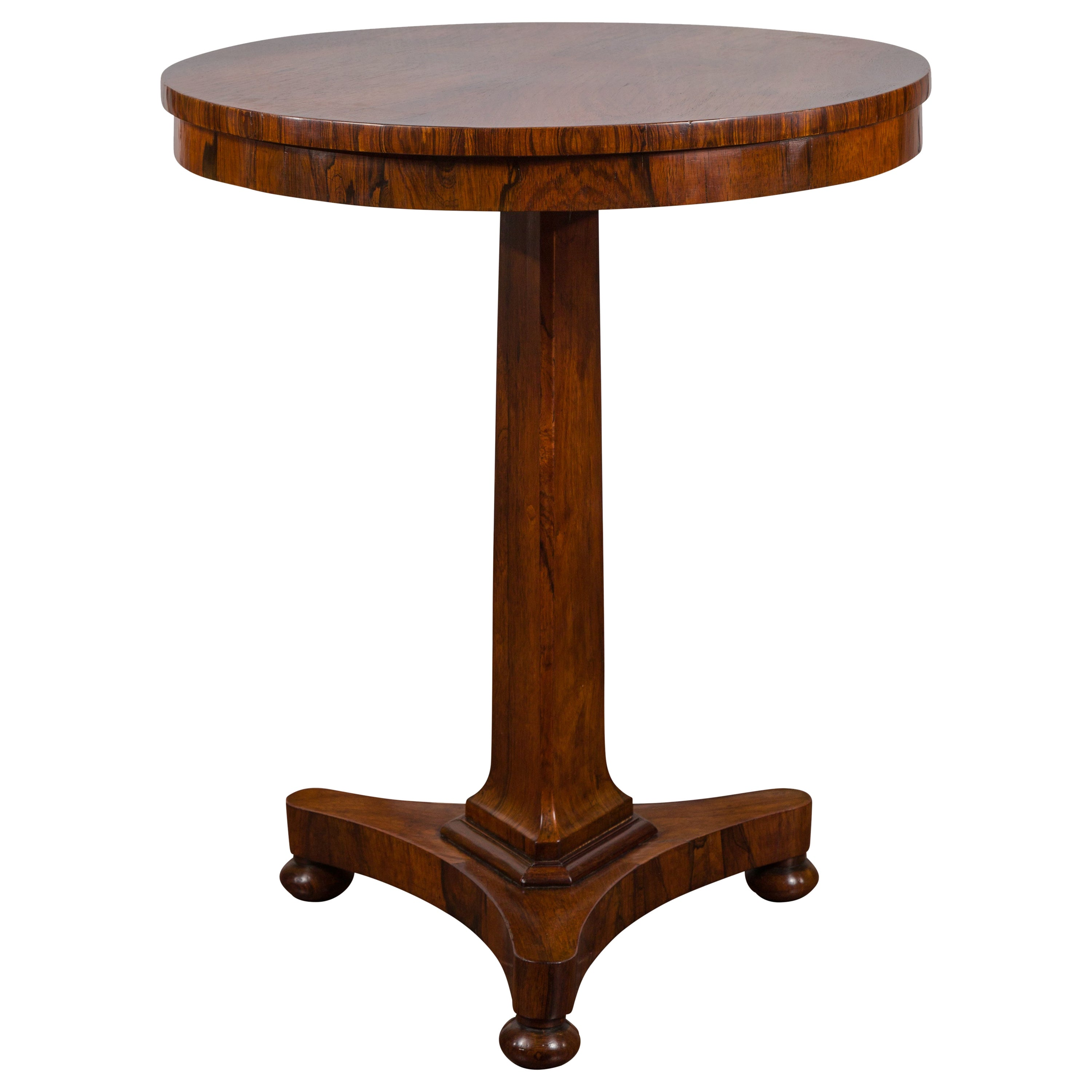 English 1820s Regency Period Rosewood Pedestal Side Table with Circular Top