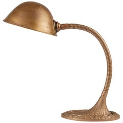 Art Deco Desk Lamp Bronze Goose Neck Made by Greist Model LFB
