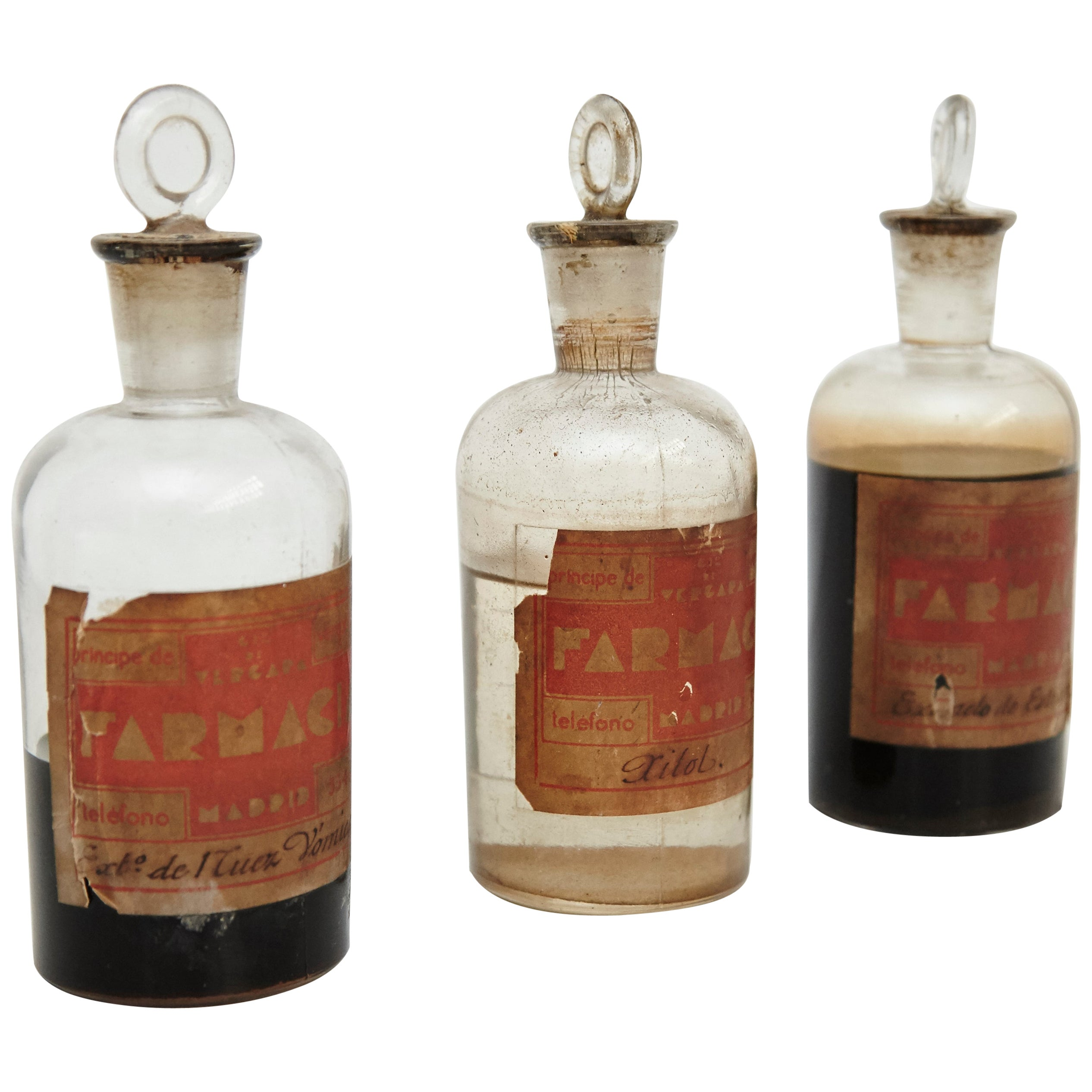 Early 20th Century Set of Three Antique Apothecary Glass Bottles