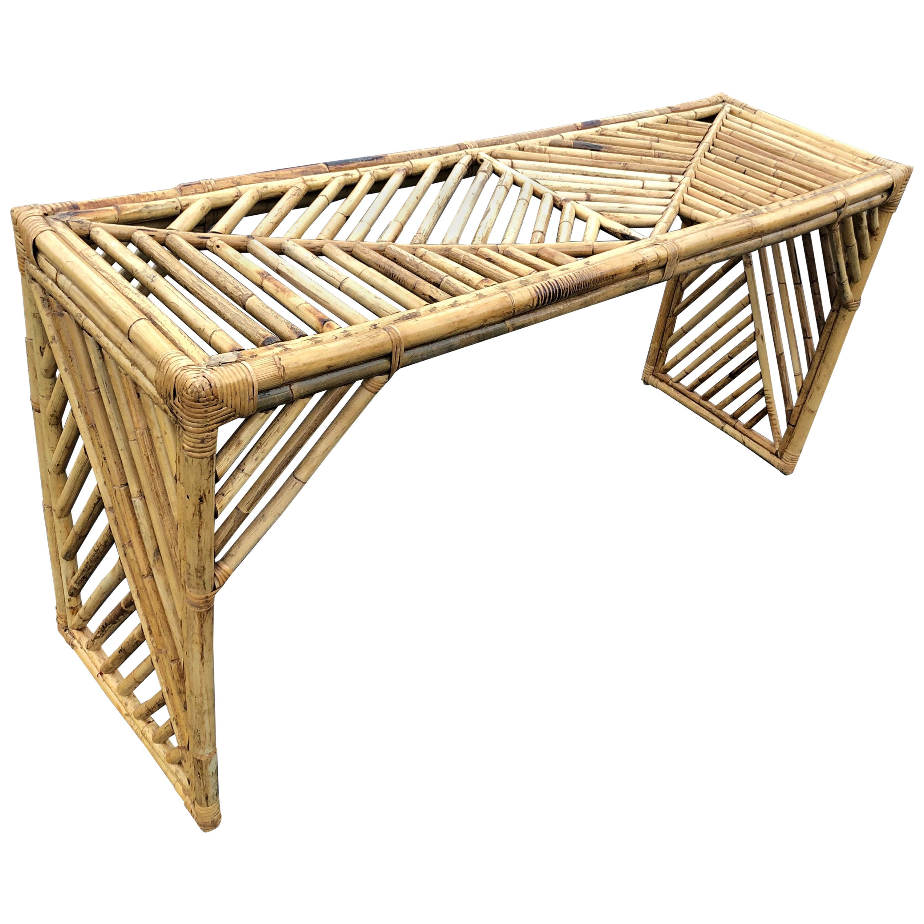 Midcentury Faux Bamboo Console Table or Desk