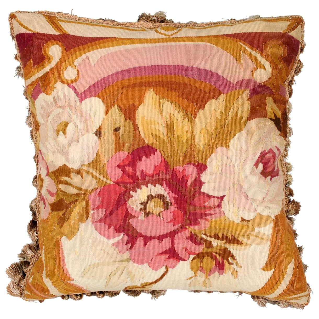 French 19th Century Aubusson Woven Tapestry Pillow with Roses Decor and Tassels
