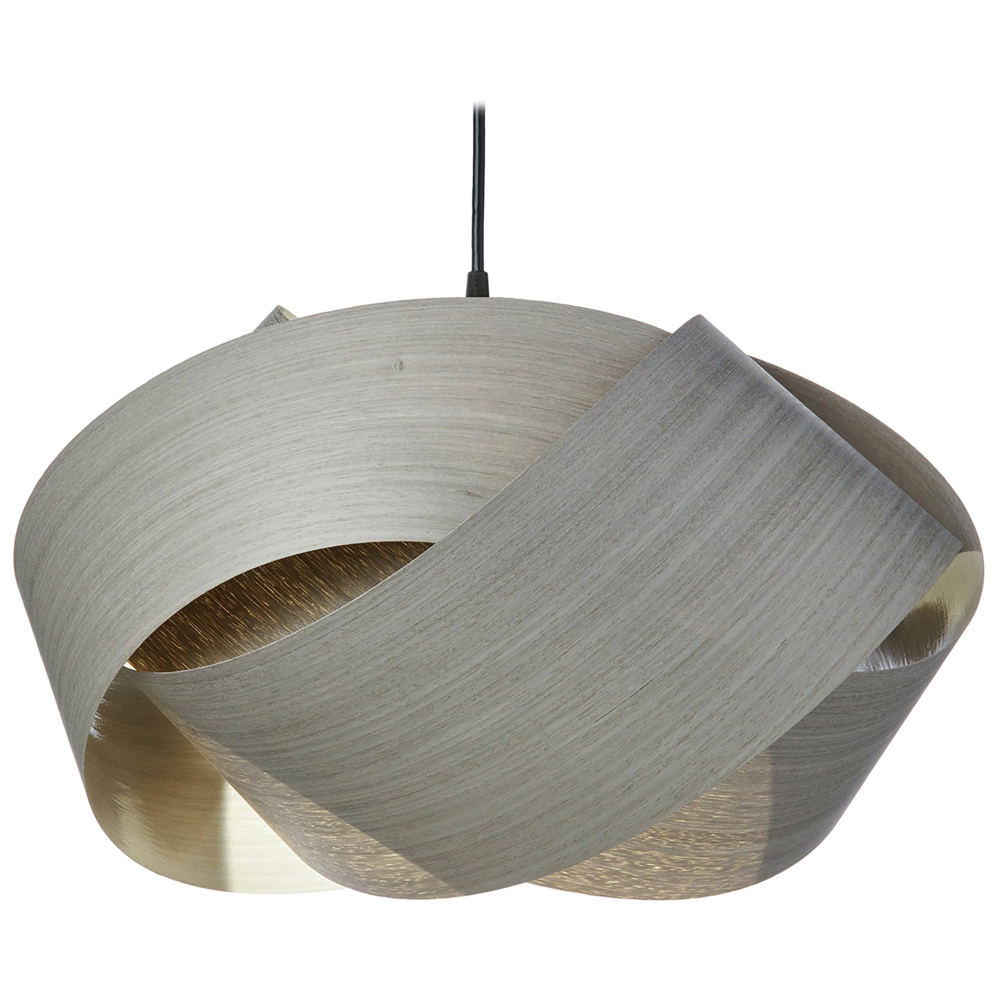 Mid-Century Modern gray wood chandelier pendant