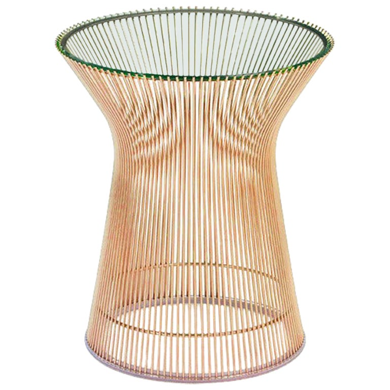 Platner Side Table, Rose Gold Base and Glass Top