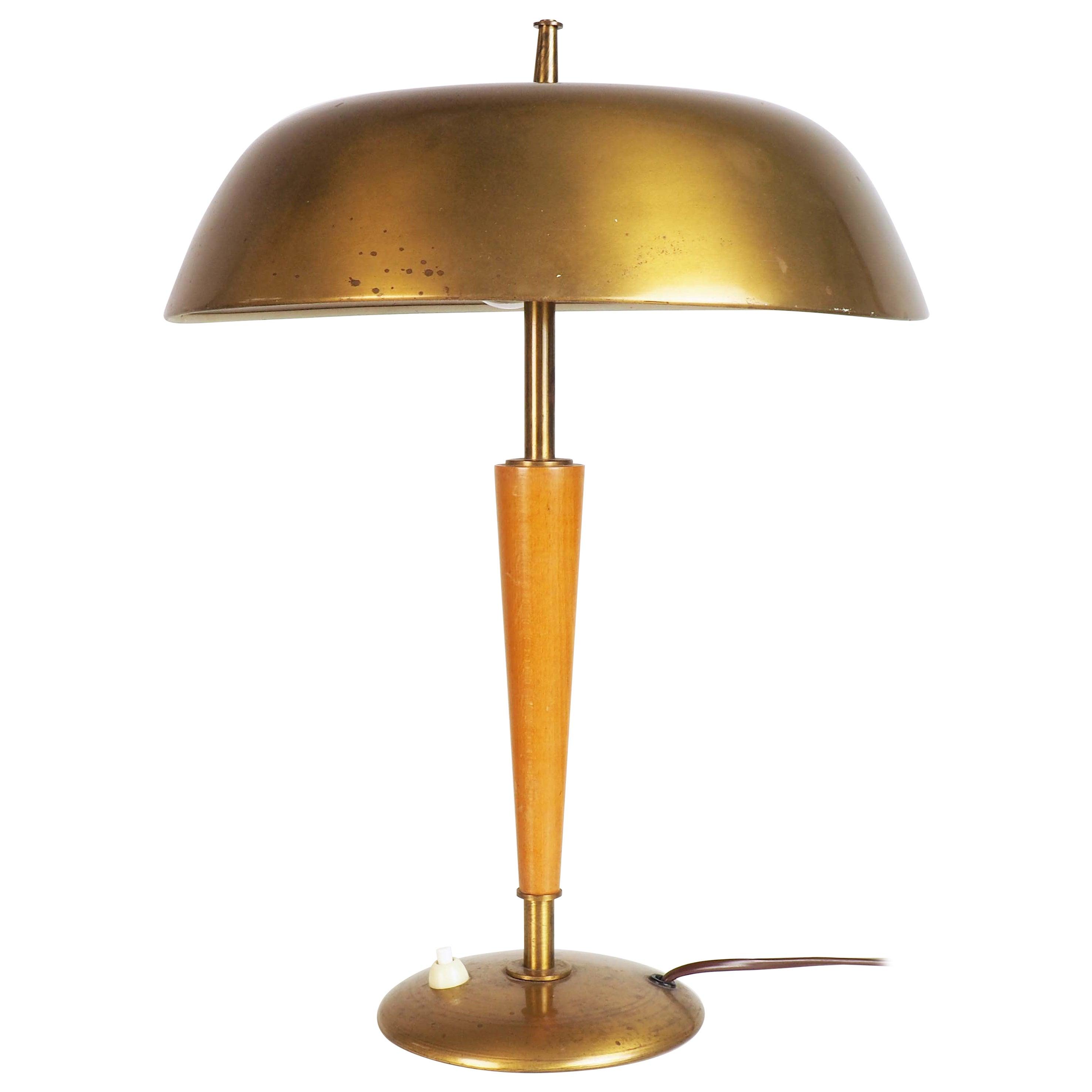 Table Lamp in Elm and Brass from Nordiska Kompaniet, Stockholm, Sweden, 1940s