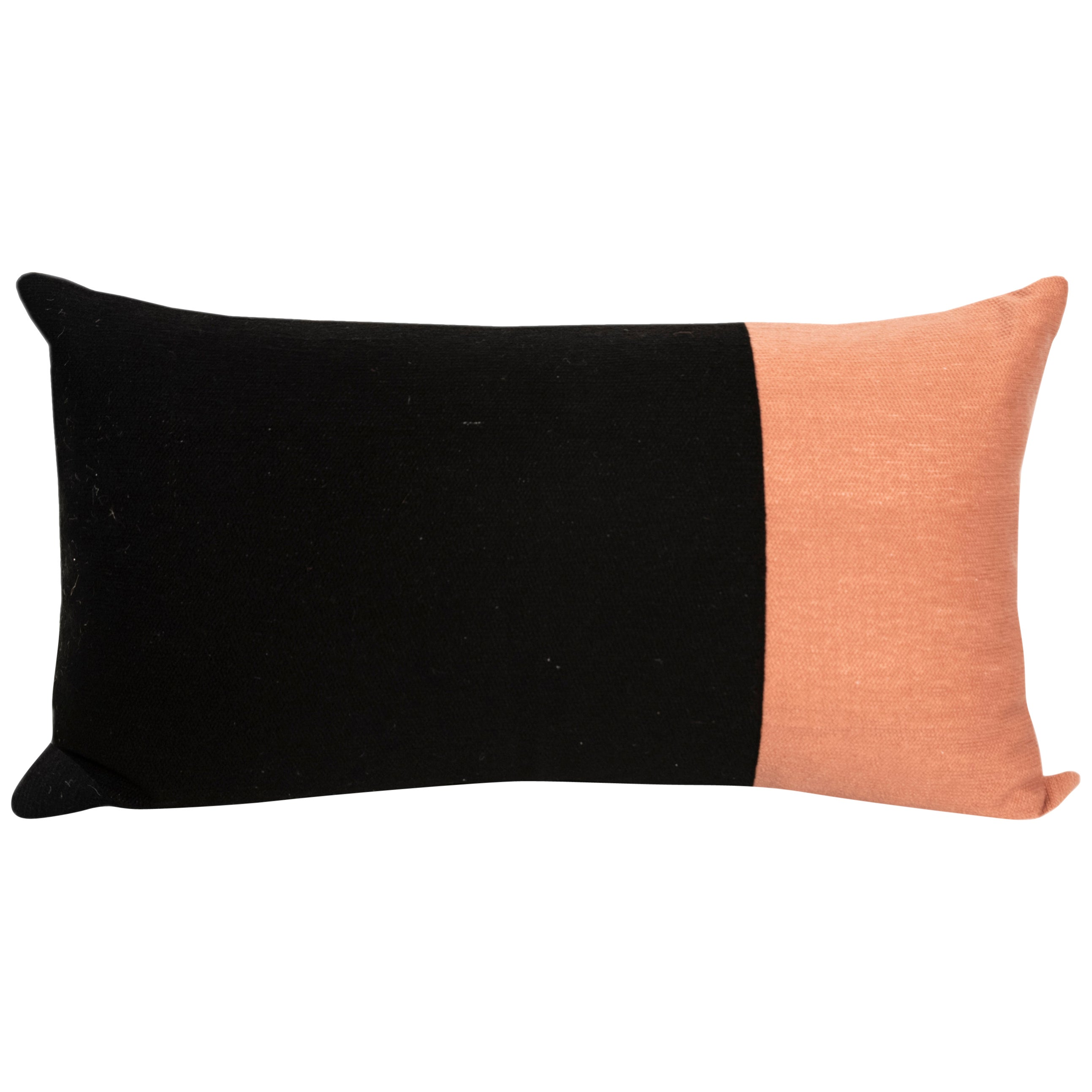 Modern Kilombo Home Embroidery Pillow Cotton Geometric Black and Salmon