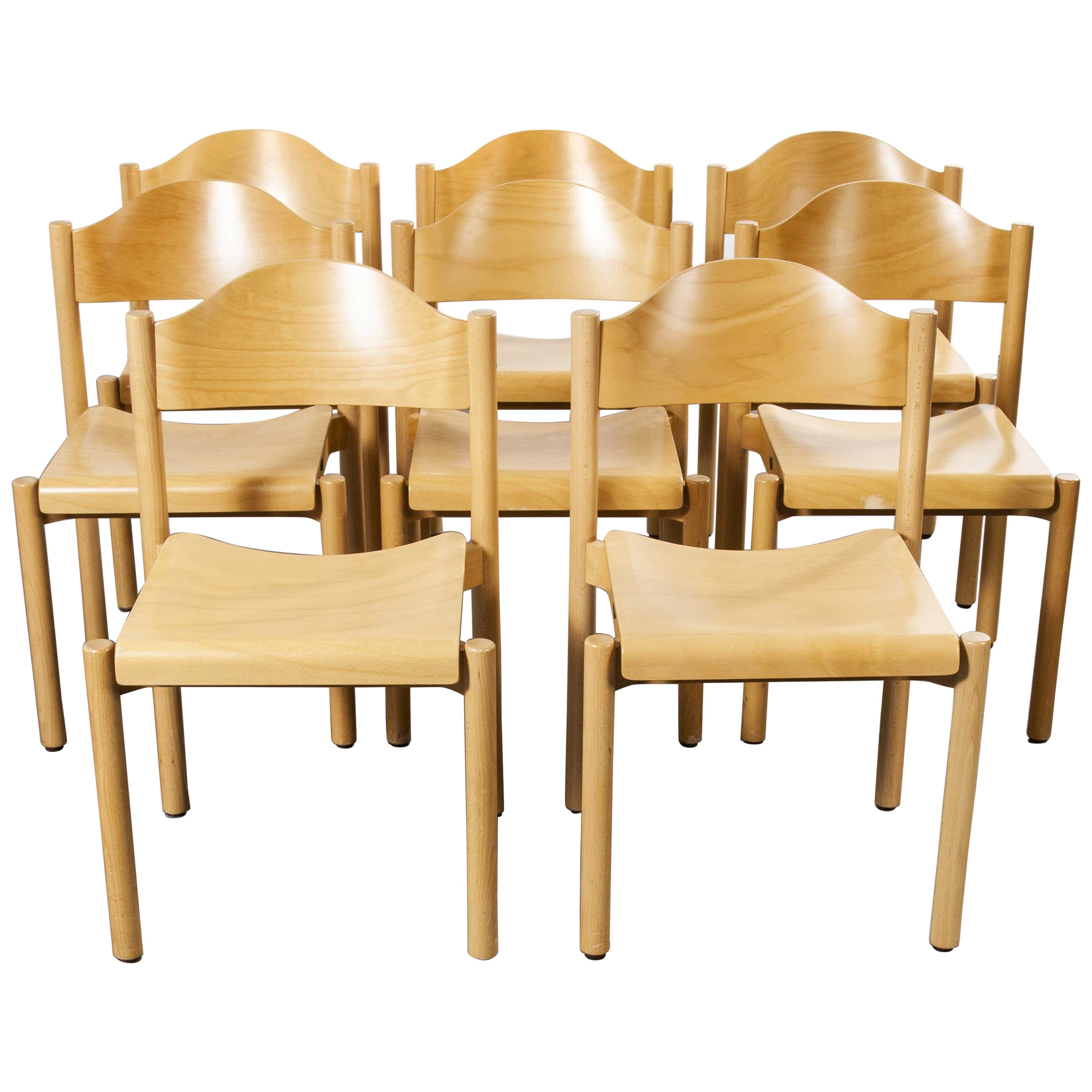 1970s Stacking Beech Dining Chairs by Hiller, Set of Eight