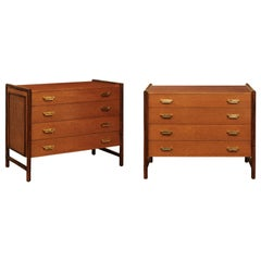 Beautiful Pair of Oak, Rattan and Cane Campaign Commodes by McGuire, circa 1970