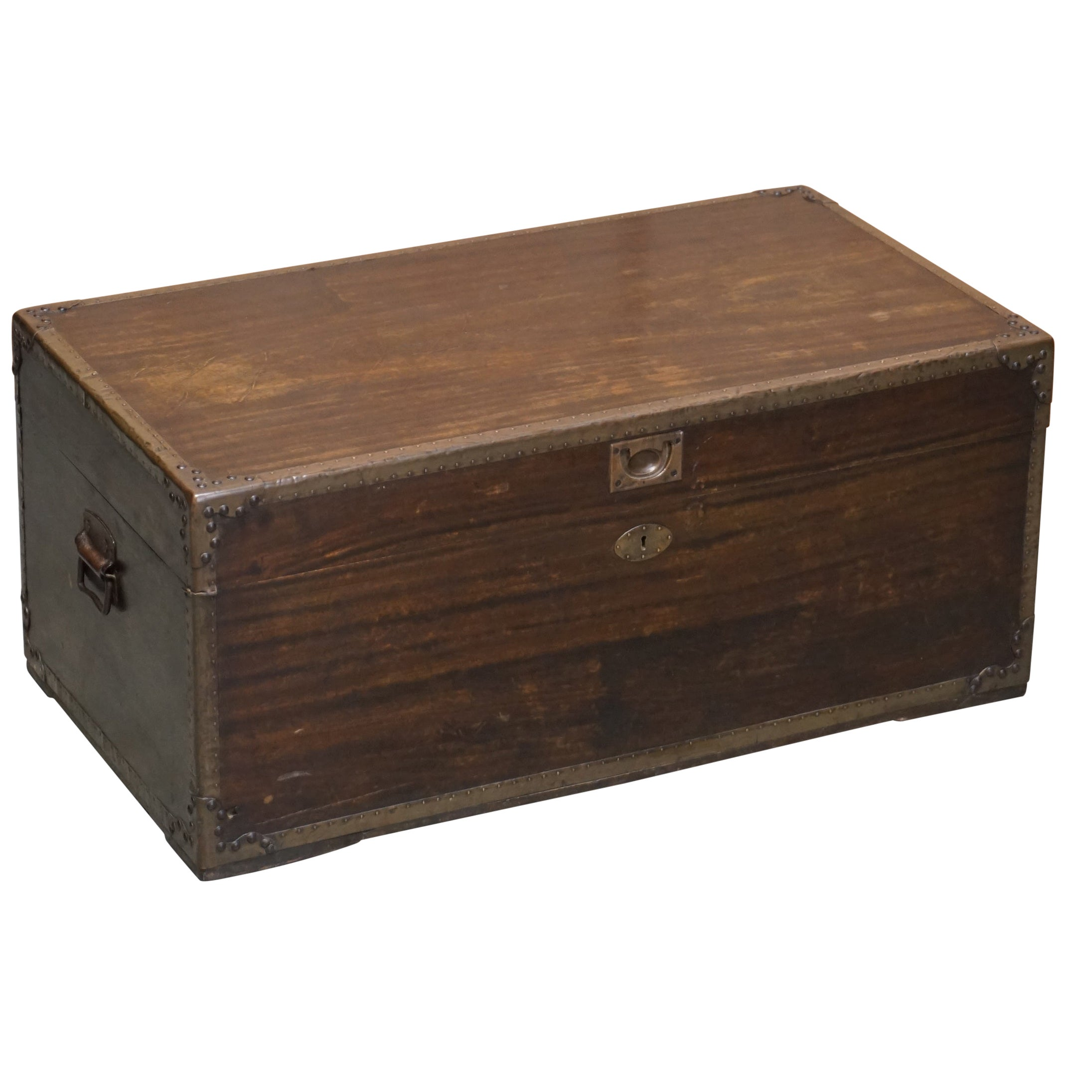 Anglo-Indian Military Campaign Chest Trunk Ottoman Used Coffee Table, circa 1880