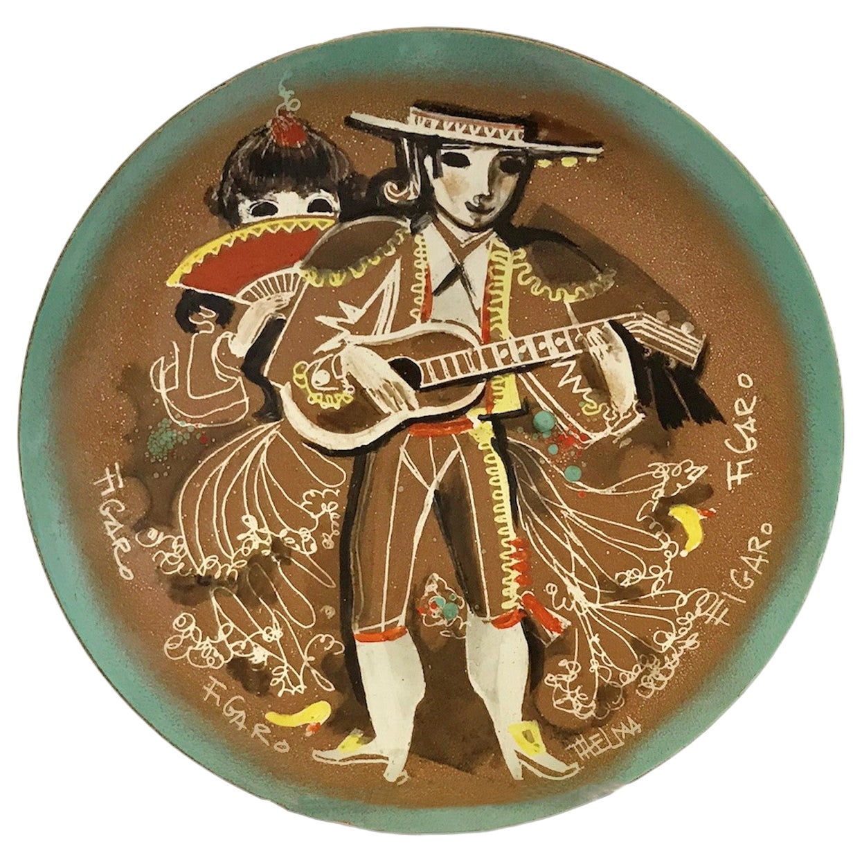 Thelma Winter Mid-Century Modern Copper Enamel Plate of Figaro Met Opera, NYC