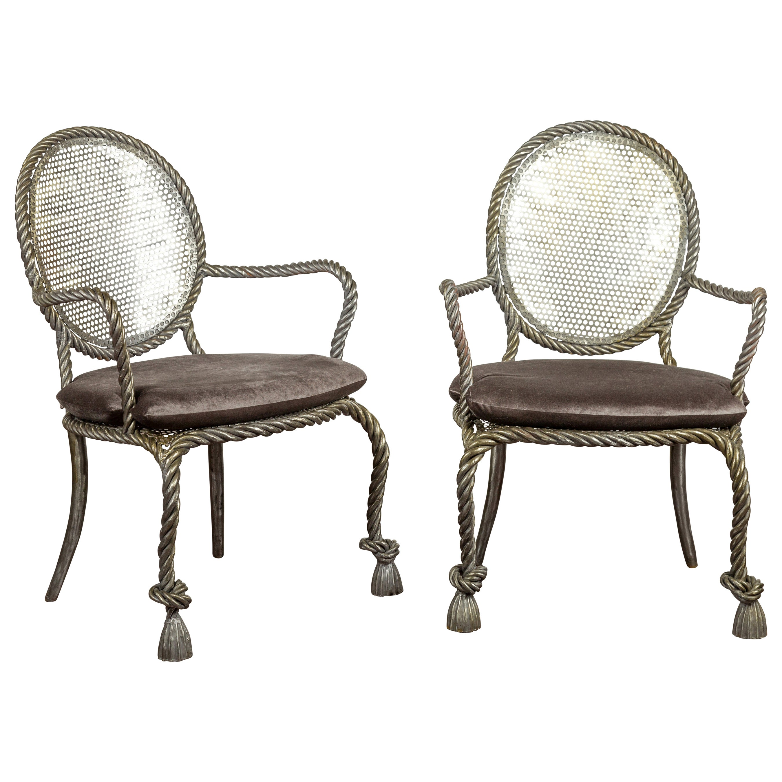 Pair of Italian Midcentury Polished Steel Rope Armchairs with Velvet Cushion