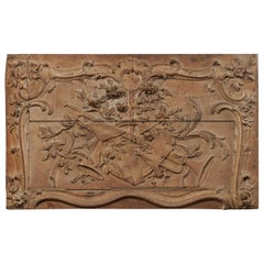 18th Century French Rectangular Wood Wall Decoration Carved in Musical Motif
