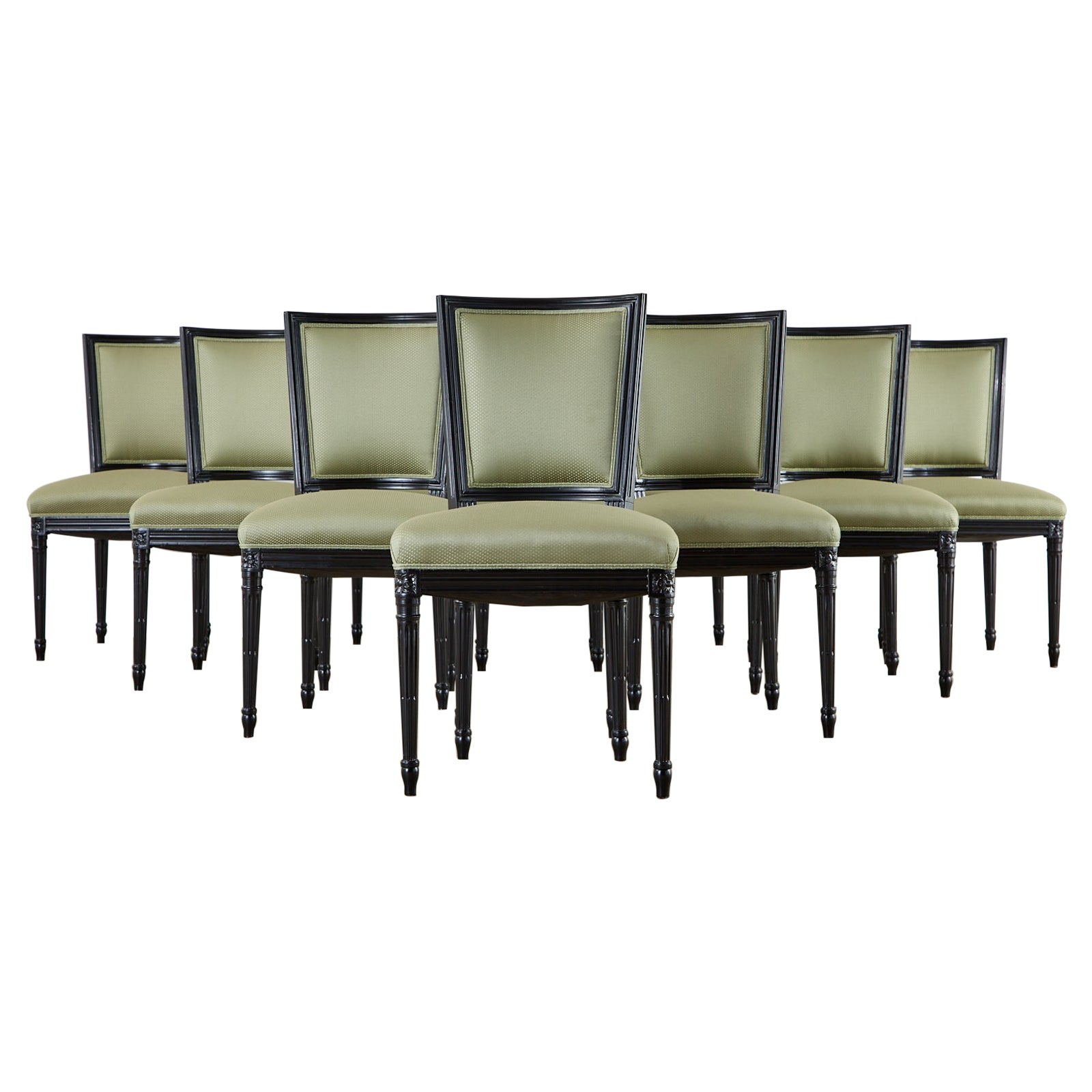 Set of Ten Maison Jansen Louis XVI Style Lacquered Dining Chairs