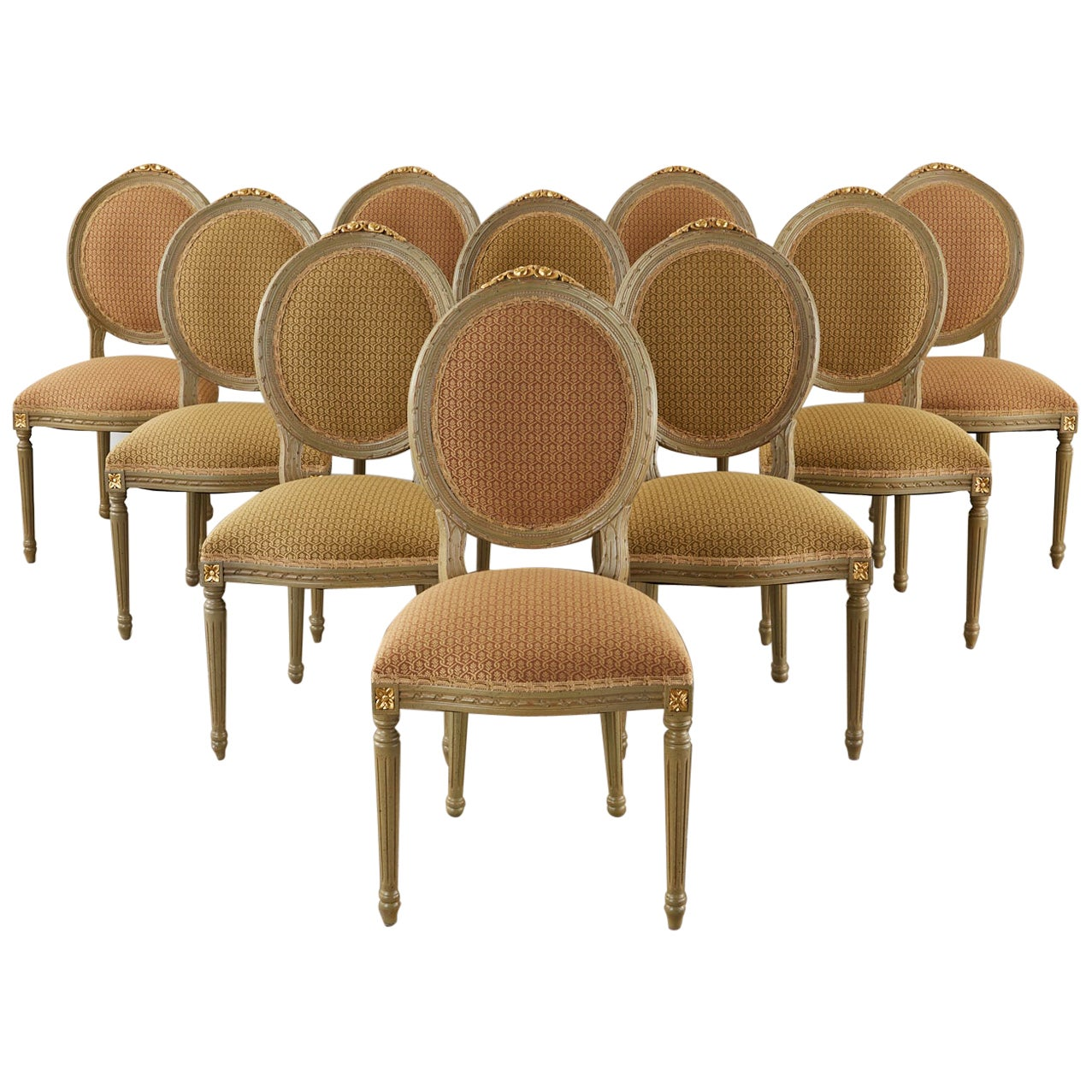 Set of Ten French Louis XVI Style Lacquered Dining Chairs