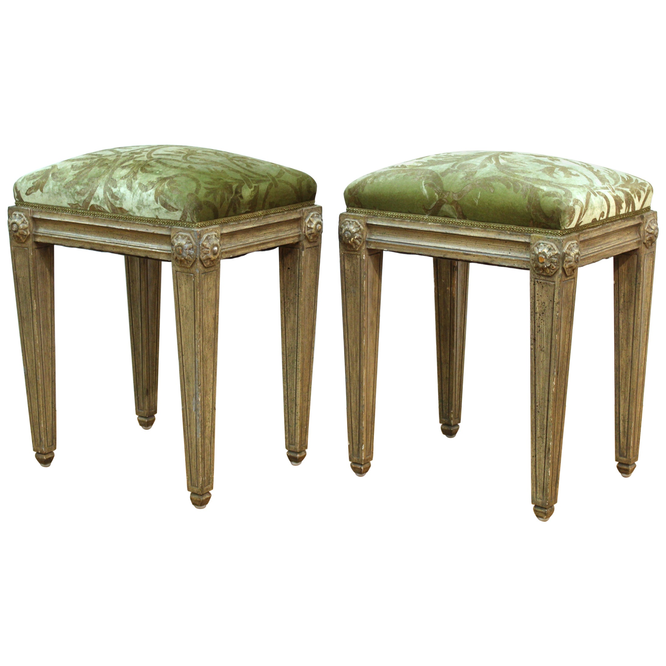 Neoclassical Revival Style Wood Benches