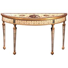 Important George III Painted and Partial Gilt Demilune Table