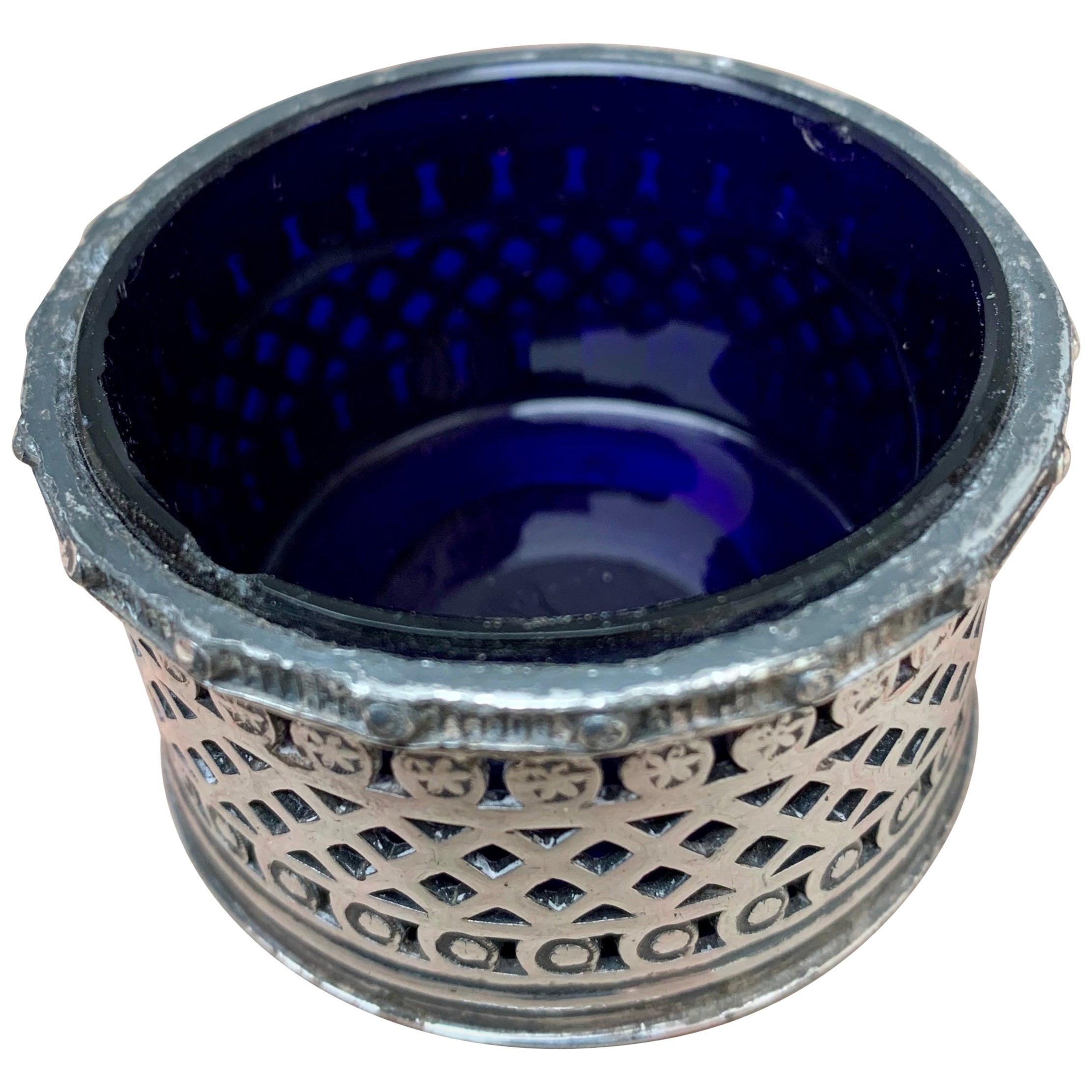 English EPBM Sheffield Silver Salt Cellar with Blue Glass Insert
