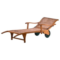 Beech and Woven Cane Garden Chaise on Wheels