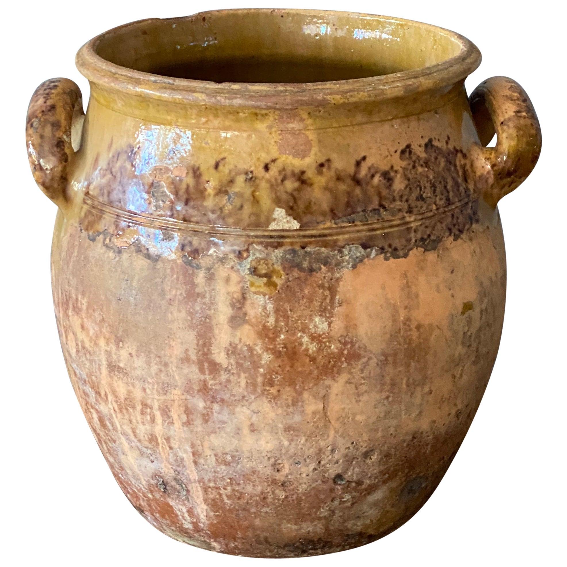 Swedish Folk Art Pottery, Unique 19th Century Pottery Farmers Vase Vessel
