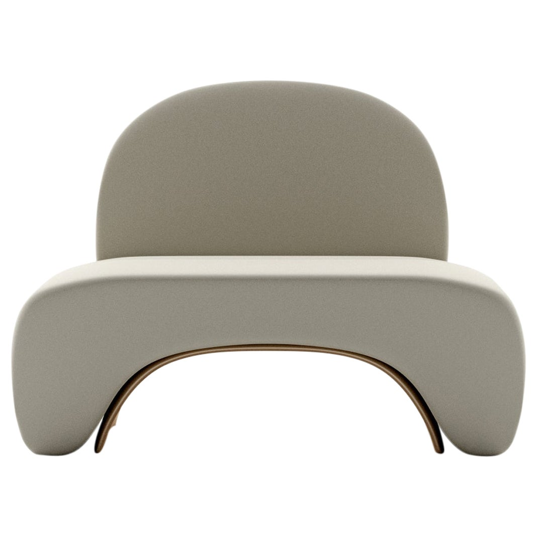 Limited Edition U Chair in Concrete Cement and Bronzed Steel Lounge Chair