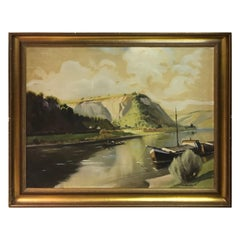 Large Oil Painting Ship at Sea Mountain View, 1900