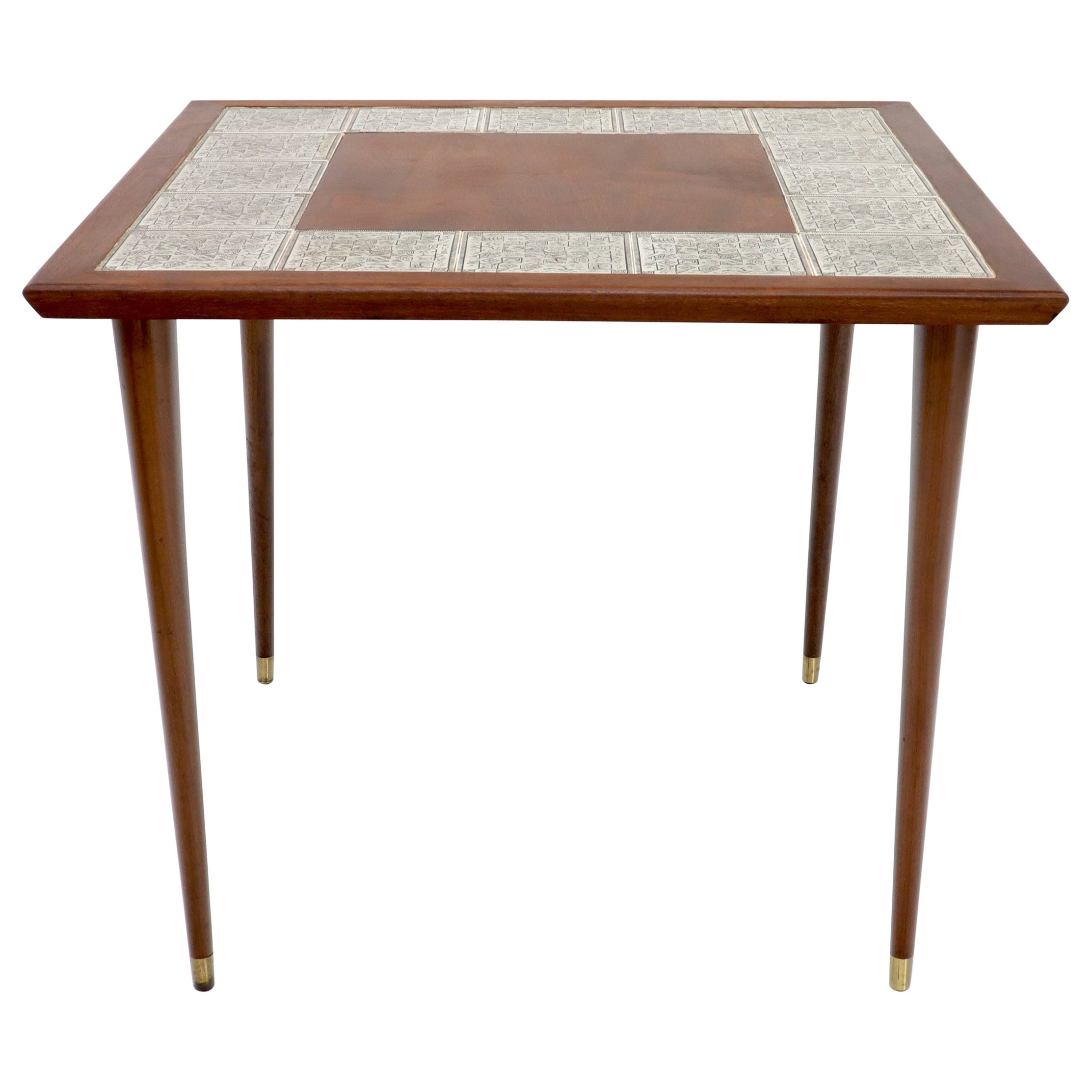 Oiled Walnut Decorative Art Tile Top Game Table on Tapered Legs Brass Tips
