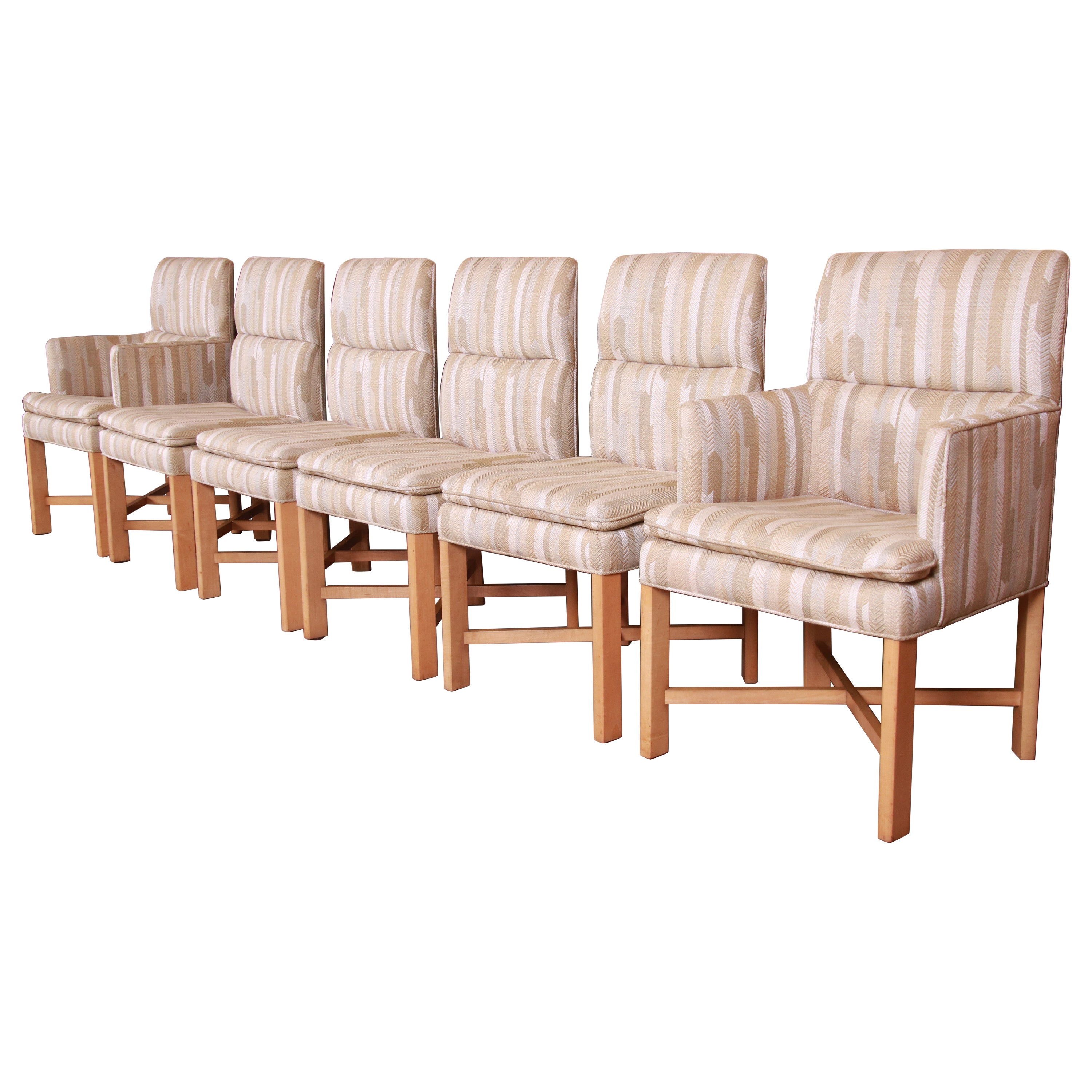 Baker Furniture Modern Upholstered X-Base Dining Chairs, Set of Six